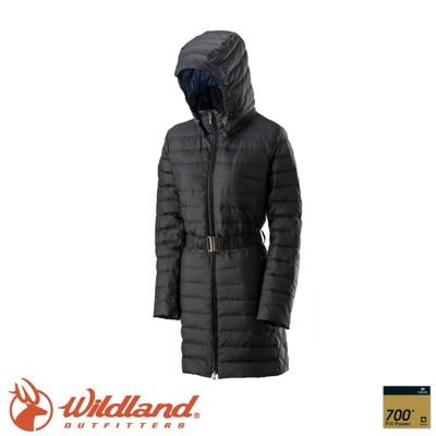 Wildland 荒野 女 輕四層700FP中長羽絨衣《黑色》0A22101/羽絨衣/長版外套