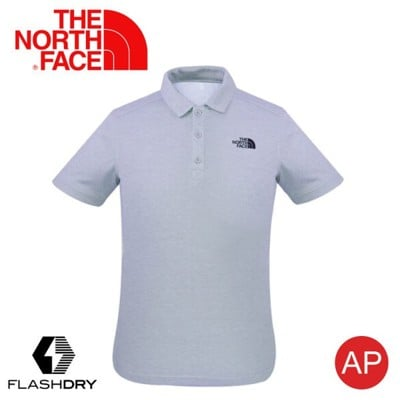 The North Face 男 排汗POLO衫《淺灰 》3CJ6/FlashDry/排汗快乾/運動