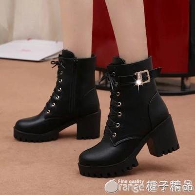 2020秋冬款高跟粗跟防水台繫帶歐美女鞋短靴保暖馬丁靴繫帶女靴子