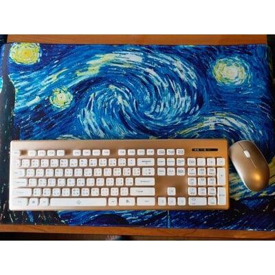 【微笑生活】超大滑鼠墊 梵谷畫作系列 滿版 鎖邊 80x30 3mm厚度  桌面裝飾