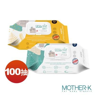 韓國MOTHER-K 自然純淨嬰幼兒濕紙巾-掀蓋柔花100抽(厚款)
