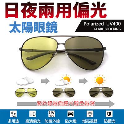 日夜兩用感光變色偏光 飛行員偏光鏡/防眩光反光/駕駛墨鏡/夜視鏡/抗UV400