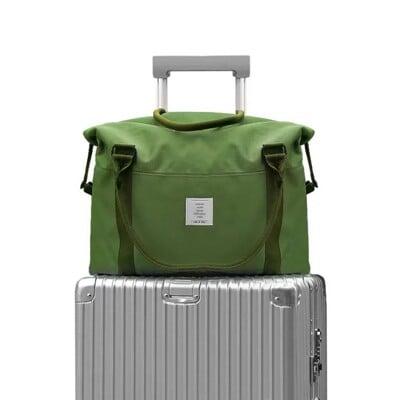 英倫牛津布旅行袋  綠大容量