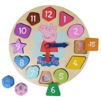 正版雷標~佩佩豬木頭時鐘遊戲組