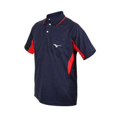 MIZUNO 男短袖POLO衫-吸濕排汗 抗UV 台灣製 慢跑 美津濃 上衣 丈青紅白