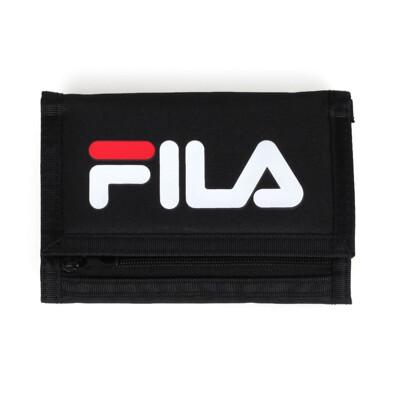 FILA 三摺運動短夾-錢包 零錢包 卡夾 復古 魔鬼氈 皮夾 黑白紅