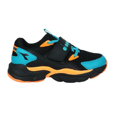 DIADORA 男中童運動鞋-超寬楦-慢跑 休閒 魔鬼氈 黑橘藍