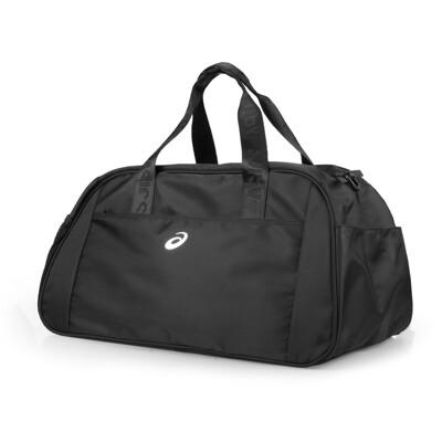 ASICS 大型旅行袋-亞瑟士 行李袋 手提包 裝備袋 側背包 黑銀