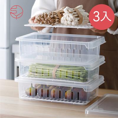 【日本霜山】可疊式冰箱生鮮/蔬果冷藏冷凍保鮮盒-3入