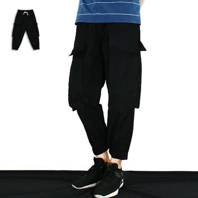 工裝褲-街頭大口袋工裝褲-百搭實穿街頭款《999031363》黑色【現貨】『SMR』