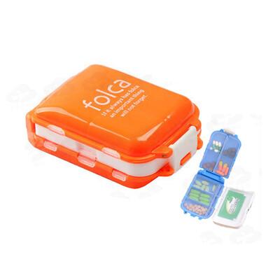 可折疊三段8格藥盒 三層便攜旅行藥盒 藥物收納盒 藥品分裝盒 隨身藥盒 多色隨機