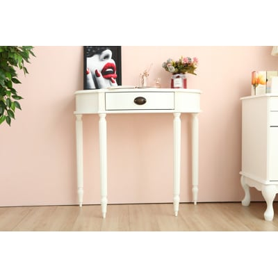 歐式 Ana半圓玄關桌 化妝桌 桌子(簡易鎖腳)