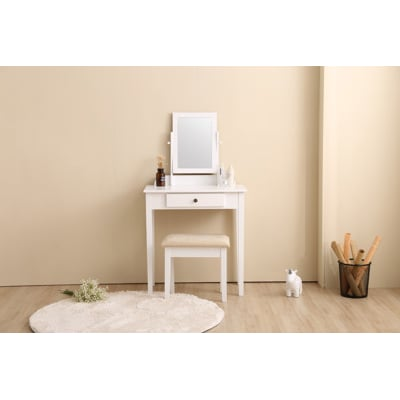 日式 簡約風方形化妝台(含椅子)-兩色