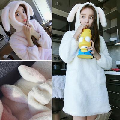保暖舒適蝴蝶結造型珊瑚絨睡衣睡袍CNTOP