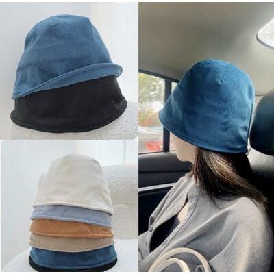 燈芯絨漁夫帽 顯臉小 日系 顆粒感圓頂帽 盆帽 水桶帽 鐘型帽子