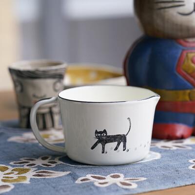 手工琺瑯杯 可愛貓咪系列-琺瑯量杯 500ml