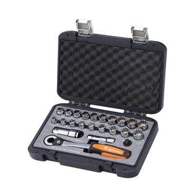 ROCK FIRM-3分新型穿透式工業級高強度棘輪板手套筒組(23件)