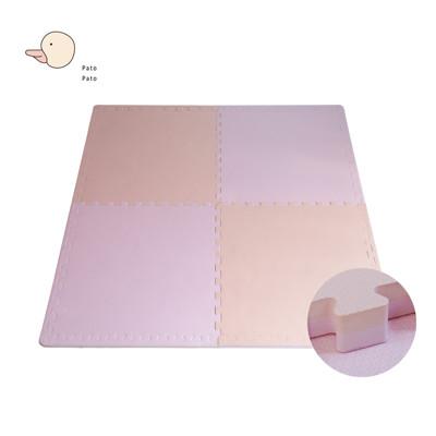 【PatoPato】嬰幼兒專用馬卡龍64*64*3cm加厚雙色巧拼地墊/粉橘款/1包4片