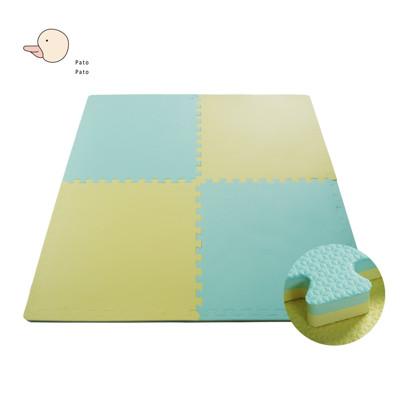 【PatoPato】嬰幼兒專用馬卡龍64*64*2cm雙色巧拼地墊/黃淺綠款/1包6片