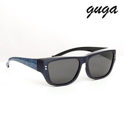 【GUGA】時尚百搭牛仔藍UV400掛套式墨鏡(J1320藍)