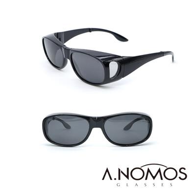 【A.NOMOS】包覆式側開窗偏光亮黑經典款墨鏡/太陽眼鏡(3009)