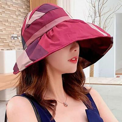 大帽檐遮陽帽 防曬帽 空顶格子帽 女户外防曬沙灘帽