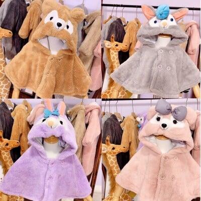 【熊熊披風】秋冬嬰幼兒斗篷 外套 兒童 男童女童嬰幼兒披風 達菲熊雪麗梅卡通披風
