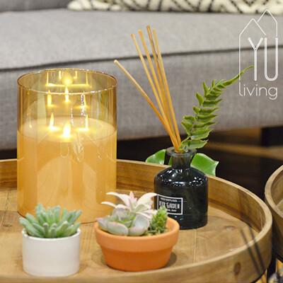 [限時特賣] 擬真LED玻璃蠟燭搖曳燈 裝飾燈 氣氛燈 15CM (金色)【YU Living】