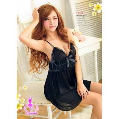 睡衣 性感睡衣 星光密碼【A012】空神秘優雅黑色絲緞情趣性感睡衣