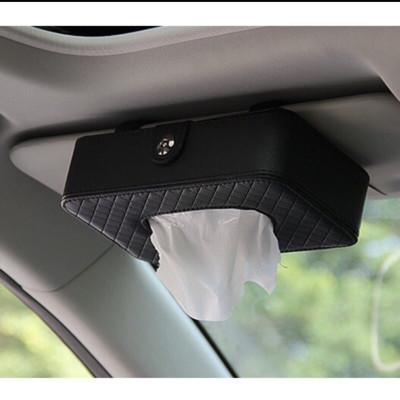 高檔皮質小羊皮紋汽車面紙盒 遮陽板夾式紙巾盒