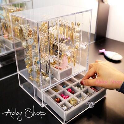 Abby生活百貨》大容量 多功能懸掛式首飾盒 首飾收納盒 壓克力 儲物盒 首飾盒 收納箱 收納架