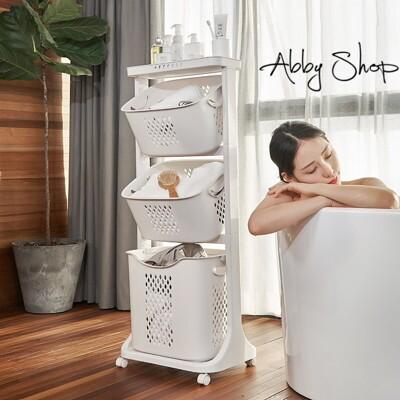 Abby生活百貨》極簡可移動三層置物洗衣收納籃推車