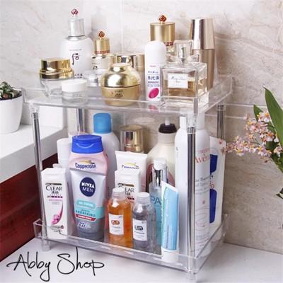 Abby生活百貨》超大浴室化妝品收納盒 (兩層) 壓克力收納盒 透明收納盒 化妝櫃 收納架 置物架