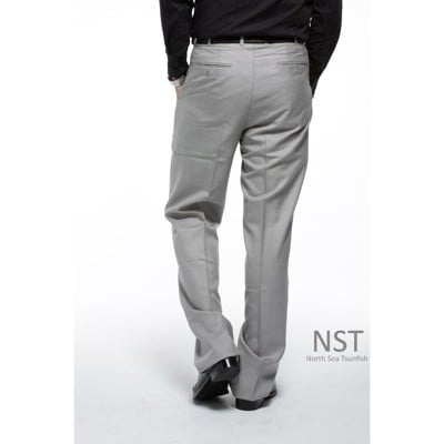 【NST Jeans】男高腰西裝褲 羊毛打摺西裝褲 灰白細格紋 002(8733)大尺碼