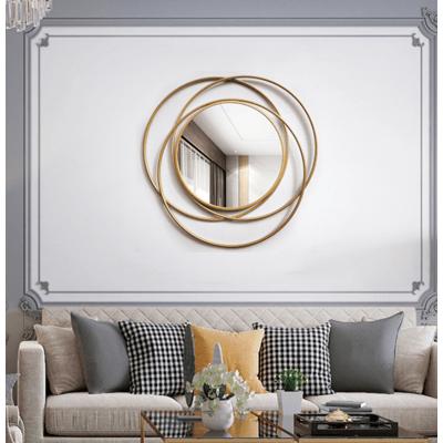 裝飾鏡 玄關鏡70*70 CM 壁飾 太陽鏡 壁掛 裝飾品 餐廳輕奢墻面 鐵藝背景墻壁上玄關創意金屬