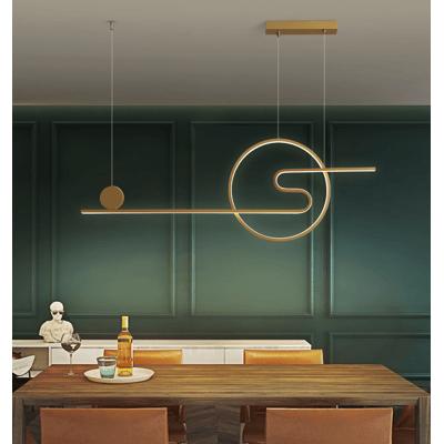 餐廳吊燈 45W 三色變光 100*5*35 北歐簡約現代新品設計師款吧臺咖啡廳創意ins網紅餐桌燈