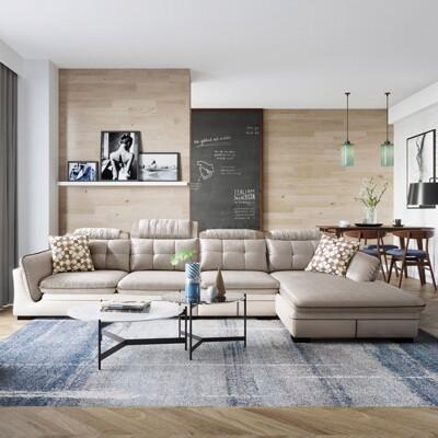 【obis】雙面料可調節頭靠乳膠坐墊左L四人座沙發(附抱枕) 2040-銀灰色