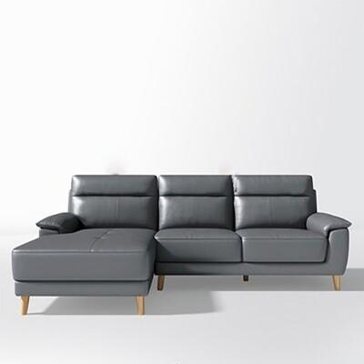 現代時尚頭層牛皮活動靠墊右L三人皮沙發RBE1K-深灰色
