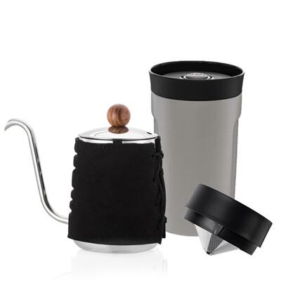 【PO:Selected】丹麥手沖咖啡二件組(手沖咖啡壺-共2色/隨行保溫咖啡杯350ml-共4色)