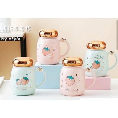 泡茶杯 鏡面草莓 420ml 附杯蓋.拌勺
