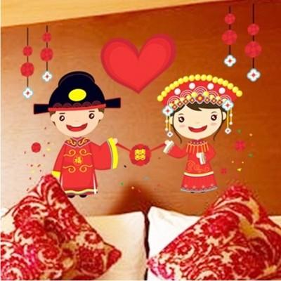 壁貼 結婚喜慶壁貼 一對新人Q版壁貼 想購了超級小物