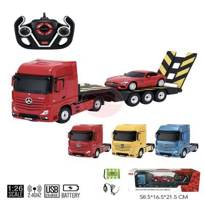 拖板車+轎車 工程車組合 跑車 工程車 卡車 運輸車 玩具組合套裝組