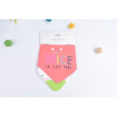 嬰幼兒全棉三角巾固齒器圍嘴飯兜圍兜-兩條裝