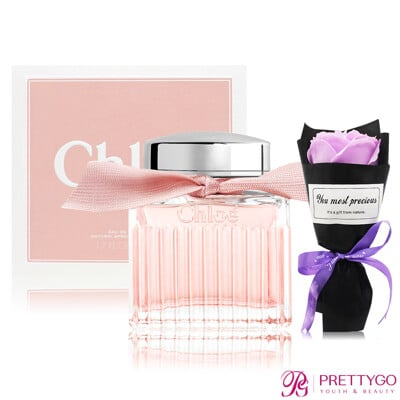 Chloe' 粉漾玫瑰女性淡香水(50ml)加贈浪漫玫瑰香皂花束-情人節限定組