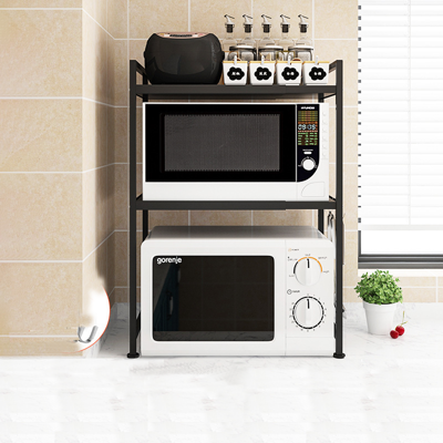 【居家生活Easy Buy】可伸縮廚房電器置物收納架 廚房收納架 微波爐置物架(雙層)
